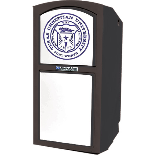 AmpliVox Sound Systems Non-Sound Collegiate Multimedia Lectern with Custom Insert (Black)