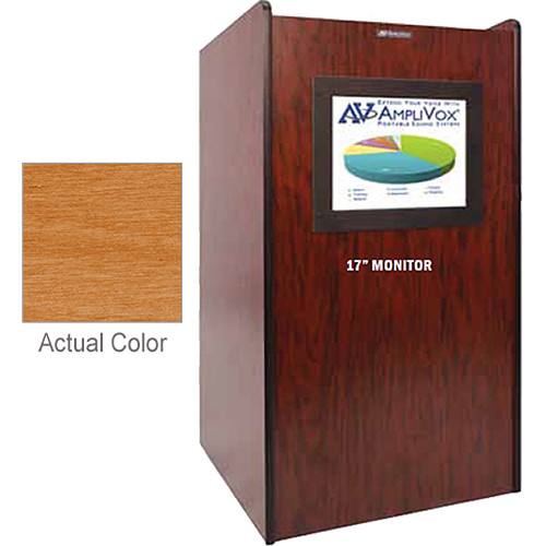 AmpliVox Sound Systems SN3265 Visionary Multimedia Lectern with Built-In LCD Screen (Cherry Finish)