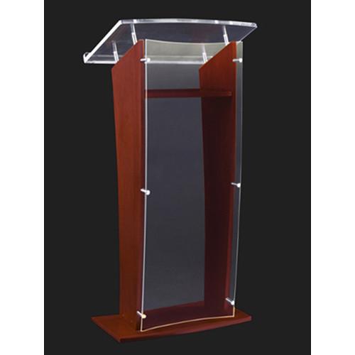 "AmpliVox Sound Systems Wood and Clear Acrylic Floor Lectern (Mahogany Finish, 27"")"