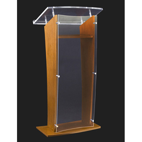 "AmpliVox Sound Systems Wood and Clear Acrylic Floor Lectern (Oak Finish, 27"")"