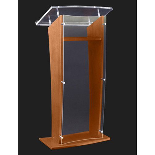 "AmpliVox Sound Systems Wood and Clear Acrylic Floor Lectern (Walnut Finish, 27"")"