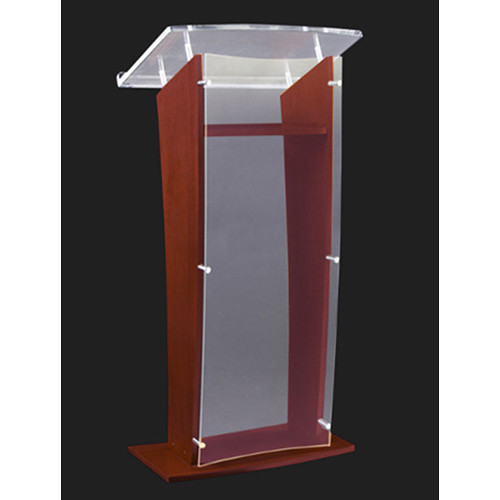 "AmpliVox Sound Systems Wood and Frosted Acrylic Floor Lectern (Mahogany Finish, 27"")"
