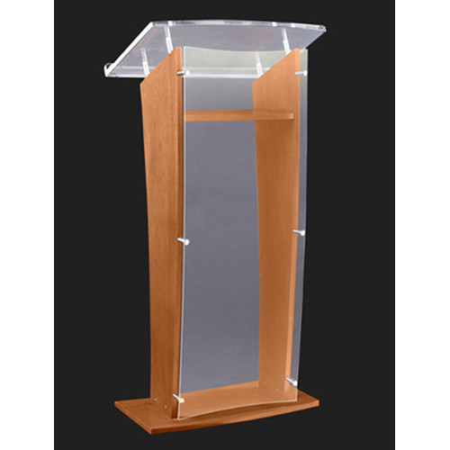 "AmpliVox Sound Systems Wood and Frosted Acrylic Floor Lectern (Oak Finish, 27"")"