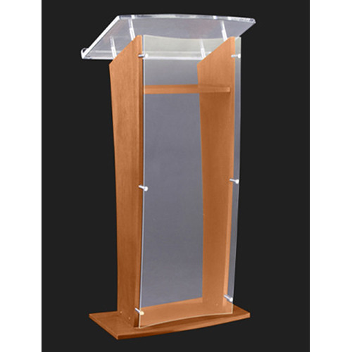 "AmpliVox Sound Systems Wood and Frosted Acrylic Floor Lectern (Walnut Finish, 27"")"