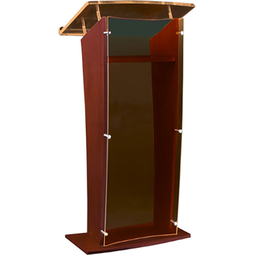 "AmpliVox Sound Systems Wood and Smoked Acrylic Floor Lectern (Mahogany Finish, 27"")"