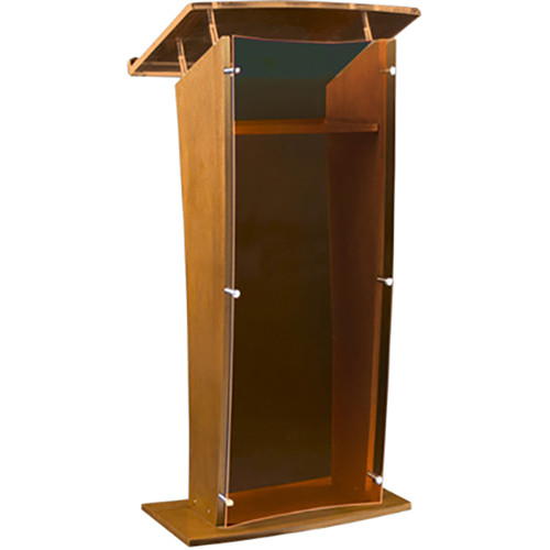 "AmpliVox Sound Systems Wood and Smoked Acrylic Floor Lectern (Oak Finish, 27"")"