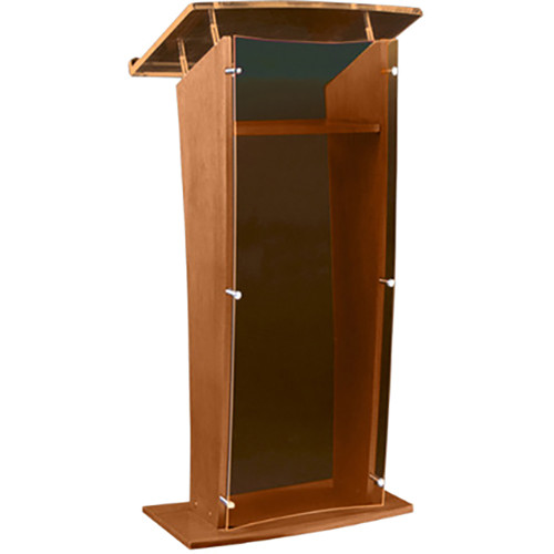 "AmpliVox Sound Systems Wood and Smoked Acrylic Floor Lectern (Walnut Finish, 27"")"