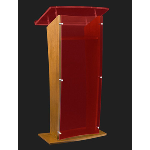 "AmpliVox Sound Systems Wood and Custom Tint Acrylic Floor Lectern (Oak Finish, 27"")"