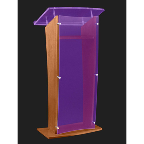 "AmpliVox Sound Systems Wood and Custom Tint Acrylic Floor Lectern (Walnut Finish, 27"")"