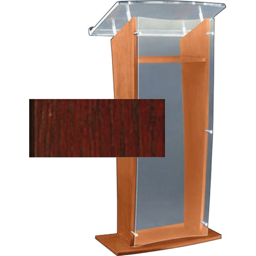 """AmpliVox Sound Systems Clear """"H"""" Style Acrylic and Wood Podium Floor Lectern with Shelf (Cherry)"""