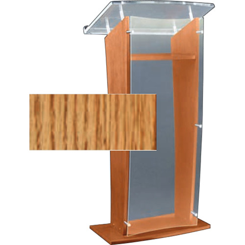 "AmpliVox Sound Systems Clear ""H"" Style Acrylic and Wood Podium Floor Lectern with Shelf (Medium Oak)"