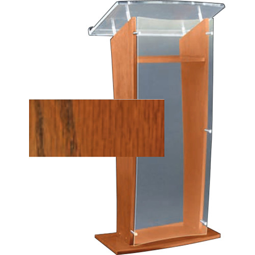 "AmpliVox Sound Systems Clear ""H"" Style Acrylic and Wood Podium Floor Lectern with Shelf (Walnut)"