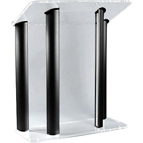 "AmpliVox Sound Systems Contemporary Clear Acrylic Tint and Black Aluminum Panels Lectern (42"" Width)"