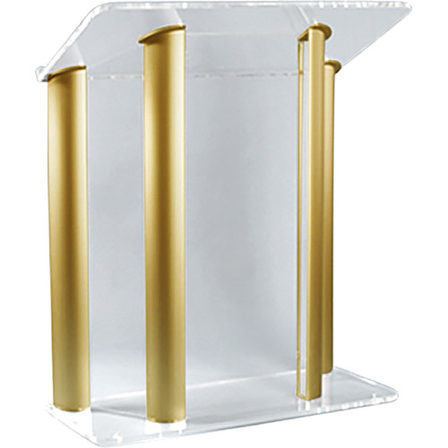 "AmpliVox Sound Systems Contemporary Clear Acrylic Tint and Gold Aluminum Panels Lectern (42"" Width)"