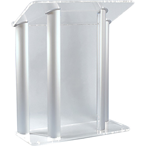 "AmpliVox Sound Systems Contemporary Clear Acrylic Tint and Silver Aluminum Panels Lectern (42"" Width)"