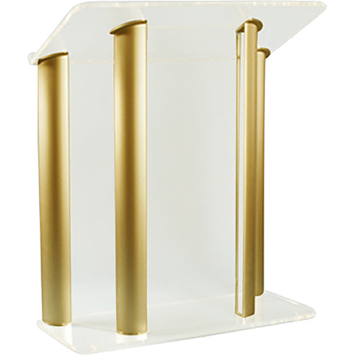 "AmpliVox Sound Systems Contemporary Frosted Acrylic Tint and Gold Aluminum Panels Lectern (42"" Width)"