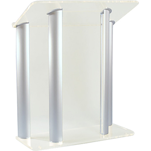 "AmpliVox Sound Systems Contemporary Frosted Acrylic Tint and Silver Aluminum Panels Lectern (42"" Width)"