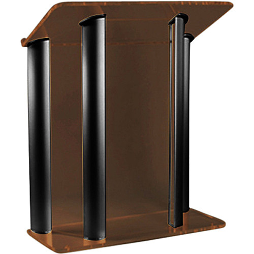 "AmpliVox Sound Systems Contemporary Smoked Acrylic Tint and Black Aluminum Panels Lectern (42"" Width)"