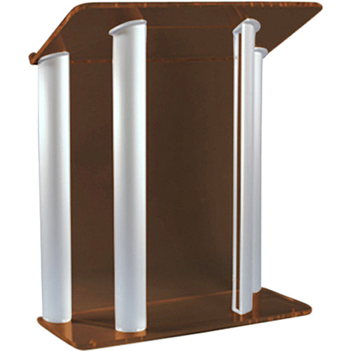 "AmpliVox Sound Systems Contemporary Smoked Acrylic Tint and Silver Aluminum Panels Lectern (42"" Width)"