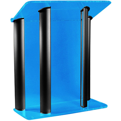 "AmpliVox Sound Systems Contemporary Custom Tint Acrylic and Black Aluminum Lectern (42"" Width)"