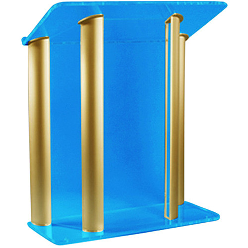 "AmpliVox Sound Systems Contemporary Custom Tint Acrylic and Gold Aluminum Lectern (42"" Width)"