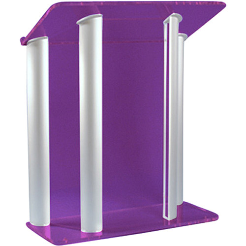 "AmpliVox Sound Systems Contemporary Custom Tint Acrylic and Silver Aluminum Lectern (42"" Width)"