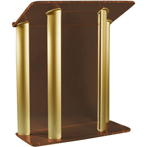 "AmpliVox Sound Systems Contemporary Smoked Acrylic Tint and Gold Aluminum Panels Lectern (42"" Width)"