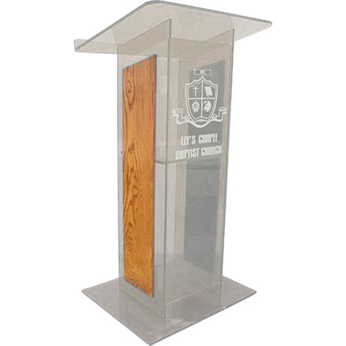 "AmpliVox Sound Systems Clear H-Design Lectern with Oak Panels (27"" Width)"