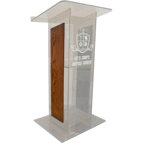 "AmpliVox Sound Systems Clear H-Design Lectern with Walnut Panels (27"" Width)"