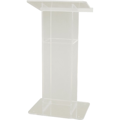 "AmpliVox Sound Systems Frosted ""H""-Style Acrylic Lectern with Shelf"