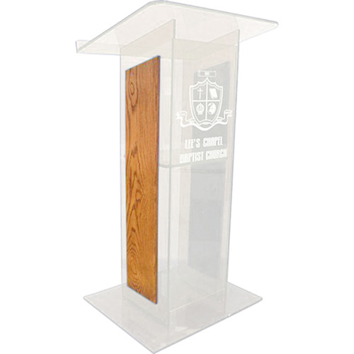 "AmpliVox Sound Systems Frosted H-Design Lectern with Oak Panels (27"" Width)"