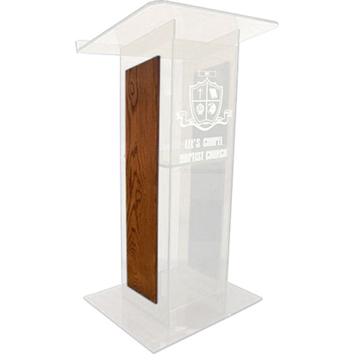 "AmpliVox Sound Systems Frosted H-Design Lectern with Walnut Panels (27"" Width)"