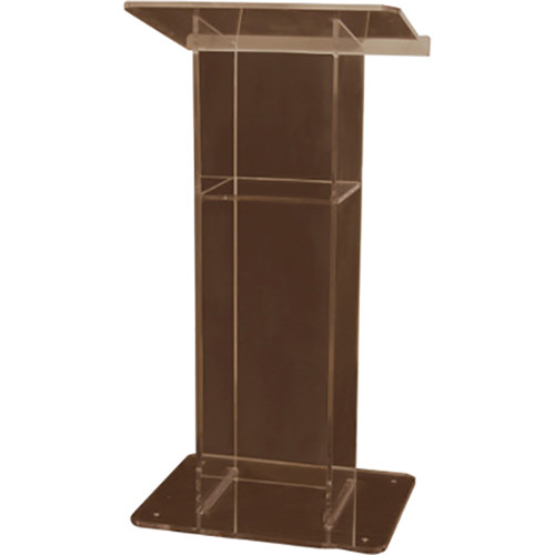 "AmpliVox Sound Systems Smoked ""H""-Style Acrylic Lectern with Shelf"