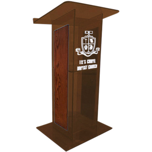 "AmpliVox Sound Systems Smoked H-Design Lectern with Mahogany Panels (27"" Width)"