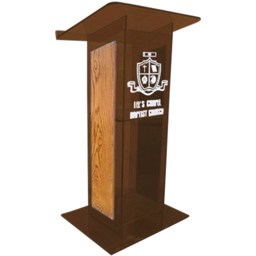 "AmpliVox Sound Systems Smoked H-Design Lectern with Oak Panels (27"" Width)"