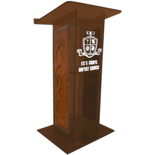 "AmpliVox Sound Systems Smoked H-Design Lectern with Walnut Panels (27"" Width)"