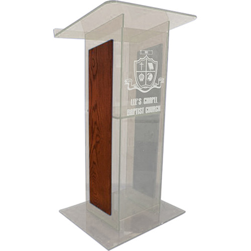 "AmpliVox Sound Systems Clear ""H"" Style Acrylic and Wood Panel Floor Lectern with Shelf (Cherry)"