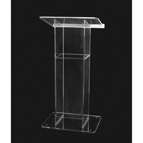 "AmpliVox Sound Systems Clear ""H"" Style Acrylic Floor Lectern with Shelf"