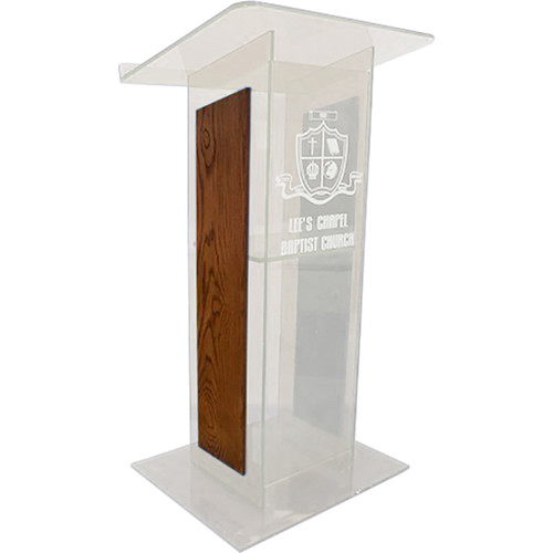 "AmpliVox Sound Systems Clear ""H"" Style Acrylic and Wood Panel Floor Lectern with Shelf (Walnut)"