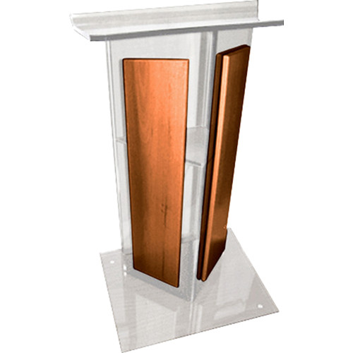 "AmpliVox Sound Systems Clear Acrylic V-Design Lectern with Walnut Panel (27"" Width)"