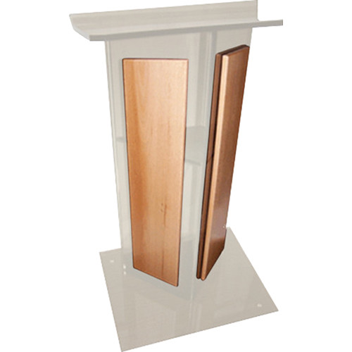 "AmpliVox Sound Systems Frosted Acrylic V-Design Lectern with Oak Panel (27"" Width)"