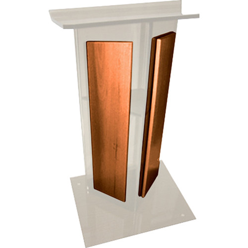 "AmpliVox Sound Systems Frosted Acrylic V-Design Lectern with Walnut Panel (27"" Width)"