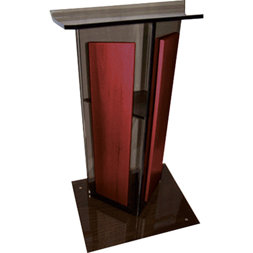 "AmpliVox Sound Systems Smoked Acrylic V-Design Lectern with Mahogany Panel (27"" Width)"