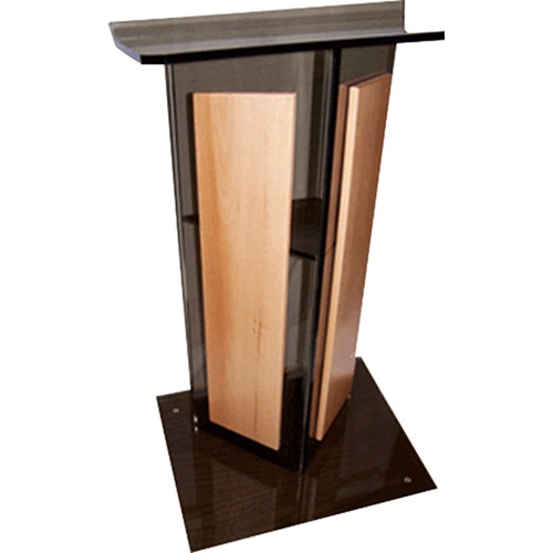 "AmpliVox Sound Systems Smoked Acrylic V-Design Lectern with Oak Panel (27"" Width)"