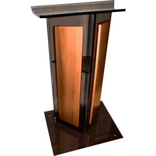 "AmpliVox Sound Systems Smoked Acrylic V-Design Lectern with Walnut Panel (27"" Width)"