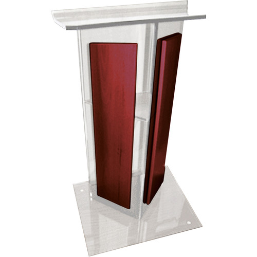 "AmpliVox Sound Systems Clear ""V"" Style Acrylic and Wood Panels Floor Lectern with Shelf (Cherry)"