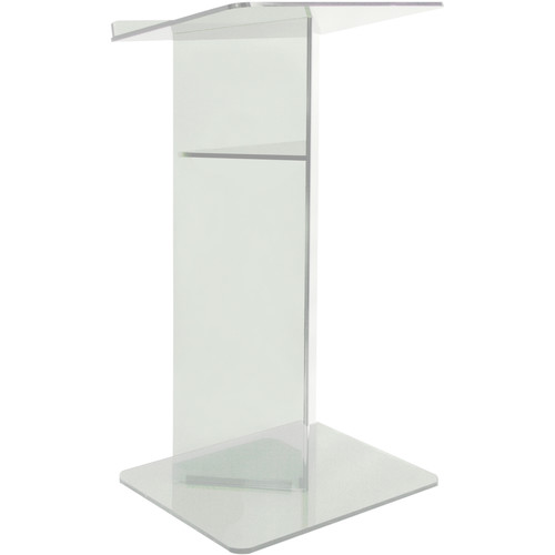 "AmpliVox Sound Systems Clear ""V"" Style Plexiglass Floor Lectern with Shelf"