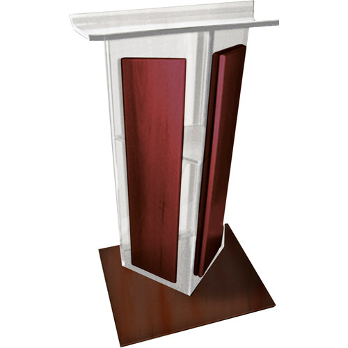 "AmpliVox Sound Systems Frosted Acrylic V-Design Lectern with Mahogany Wood Panels & Base (27"" Width)"