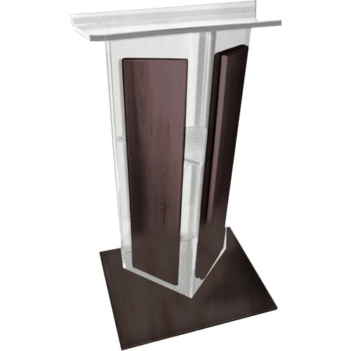 "AmpliVox Sound Systems Frosted Acrylic V-Design Lectern with Walnut Wood Panels & Base (27"" Width)"