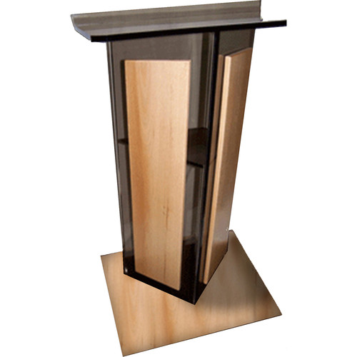 "AmpliVox Sound Systems Smoked Acrylic V-Design Lectern with Oak Wood Panels & Base (27"" Width)"